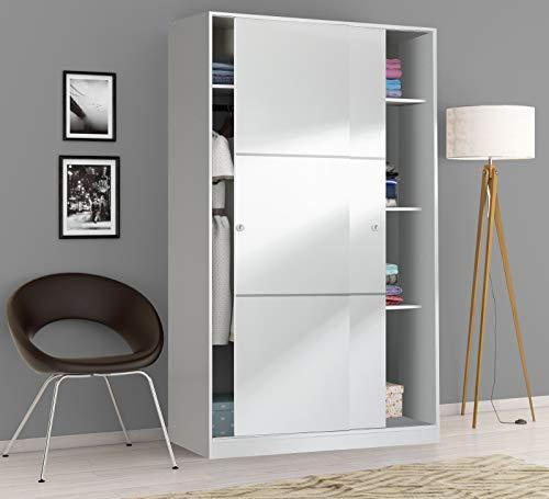 Dmora Armadio a Due Ante scorrevoli e Tre Ripiani, Colore Bianco Lucido, cm 100 x 50 x h200