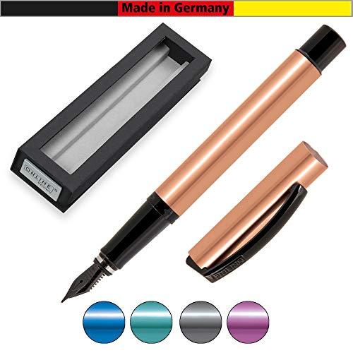 ONLINE Füller Vision Magic, Füllfederhalter mit klarem Design, Aluminium im Metallic-Look, geschwärzte Iridium-Feder EF, für Standard-Tintenpatronen und Konverter geeignet, Geschenkverpackung Rosegold