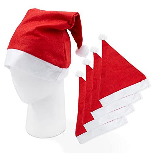 TWIDDLERS 20 Gorros de Papá Noel - Santa Sombrero para Niños y Adultos | Gorro Disfraz de Navidad Clásico para Fiestas