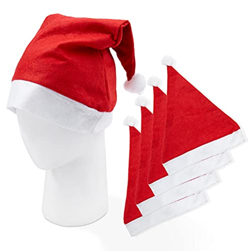 20 Cappello da Babbo Natale per Bambini e Adulti| Feltro Premium, Riutilizzabile, Ecologico| Costume Natalizio Classico per Feste, Decorazione.