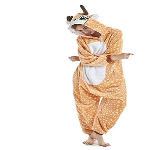 LKHJ Pijamas Enteros Traje de Franela para Adolescente, Pijama de una Pieza para Hombre, Animal, Leopardo, Ciervo, Ropa de Dormir-Amarillo_8T