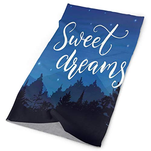 Magic Headwear Outdoor Scarf Headbands Bandana,Sweet Dreams Good Night Wish Typography Over The Landscape With Trees Silhouettes,Mask Neck Gaiter Head Wrap Mask Sweatband