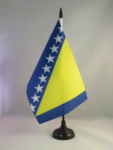 AZ FLAG TISCHFLAGGE BOSNIEN UND HERZEGOWINA 21x14cm - BOSNISCHE TISCHFAHNE 14 x 21 cm - flaggen