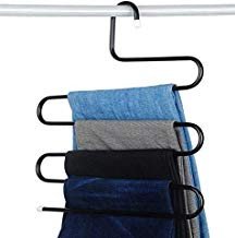 Shenron Stainless Steel Hanger, 5 Layers Cloth Hanger, Black Multi Purpose Magic Closet 5 Layers Trouser Hangers Space Saver Storage