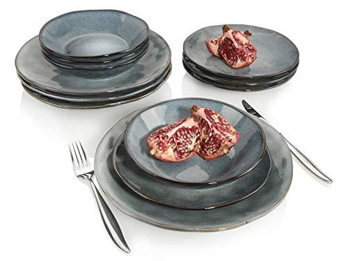 Tafelservice Darwin 12 teiliges Geschirr-Service für 4 Personen aus Steingut, Speise-, Dessertteller und Schalen, erweiterbar, Alltag, besonderes Dinner, Frühstück, Outdoor Teller Set von Sänger