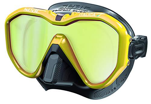 SEAC Italica Máscara Sola Lente para Buceo Profesional, recreativo y Snorkeling, Adultos Unisex, Negro LS/Amarillo Metal, Regular Fit