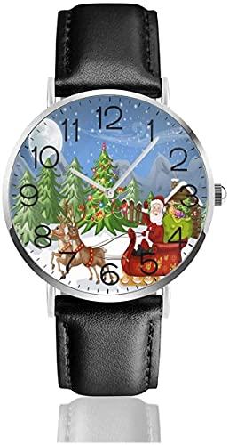 SBLB - Reloj de pulsera de cuero con diseño de Papá Noel con reno y correa de piel negra para mujeres, hombres, niños y niñas
