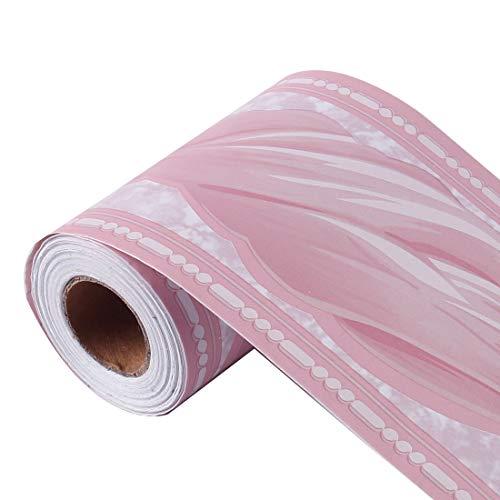 sourcing map Carta parati bordata Autoadesivo Parete Pavimento PVC Confini per Cucina Bagno Camera Letto Decor Parete Carta Rosa Modello d'onda