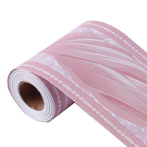 Sourcing Map Tapetenbordüre, selbstklebend, PVC-Bodenbordüre für Küche, Badezimmer, Schlafzimmer, Wanddekoration, Papier, 10 cm x 10 m, PVC, rose, Wave Pattern