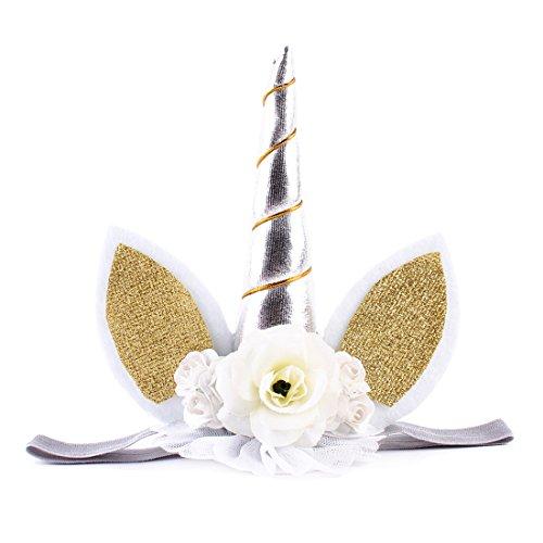 JMITHA Haarreif Einhorn Elastisch Einhorn Blumenmädchen Haarschmuck Verkleiden für Hochzeit Party Karneval Head Accessoires (Silber)