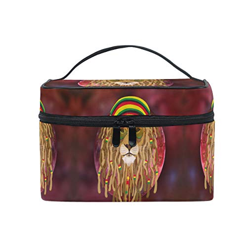 Space Lion Rouge Trousse Sac de Maquillage Toilette Cas Voyage Sac Organisateur Cosmétique Boîtes pour Les Femmes Filles