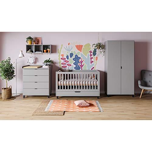Chambre complète lit évolutif 70x140 - commode à langer - armoire 2 portes Simple - Gris