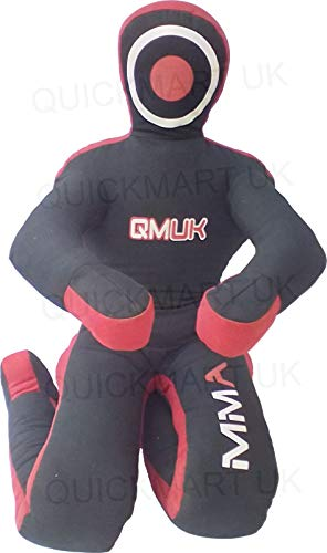 "QMUK MMA Grappling Brazilian Jiu Jitsu Wrestling Mixed Martial Arts Judo Training Kick Boxing Dummy (Canvas Black/Red, 40"" (3 Feet))"