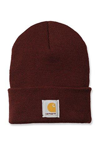 Carhartt Chapeau d'hiver/Bonnet pour Lui et Elle, OFA, 100% Acrylique, Made in USA, élastique, différentes Couleurs (Bourgogne)