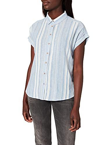 Springfield Camisa Lino Camicia, Blu Medio, 42 Donna