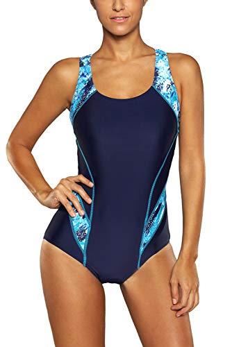 Charmo Sports Racing Einteilige Badebekleidung Kontrastfarbe Bademode für Damen Sportlicher Schwimmanzug Blau S
