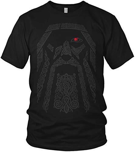 North - The Odin Runen Wikinger Rabe Valhalla Rising Walhalla Vikings Wodan - Herren T-Shirt und Männer Tshirt, Größe:XL, Farbe:Schwarz Original Rot