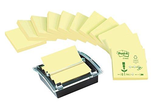 Post-it C2014Y12 Spender für Recycling Z-Notes, 1 Z- Notes Spender, 12 Blöcke/100 Blatt, schwarz/transparent