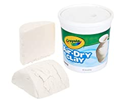 EASY TO MOLD, EASY TO CLEAN: Resealable plastic bucket of Air Dry Clay. This fine, natural white earth clay dries to a hard solid. Easy to use with traditional modeling techniques. It's also a snap to clean up. AT HOME CRAFTS & INDOOR ACTIVITIES: Kee...