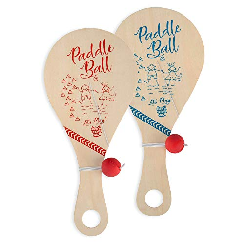 Wooden Paddle Ball Toy(Set of 2) with Carry Bag - Indoor Outdoor Toy: Fun and Classic Paddleball Game for Boys and Girls, Party Favor Toys Ages 4+