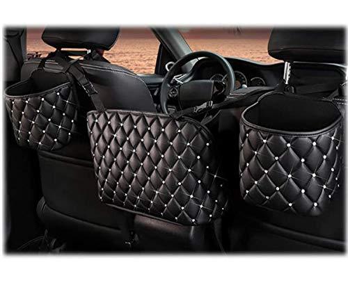 Car Organizer,Car Handbag Holder Luxury Leather Seat Back Organizer Large Capacity Automotive Goods Storage Pocket,Universal Handbag Holder for Girls Women Travel Pocket Bag. (Black-Big)