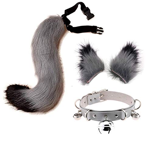 Faux Fur Wolf Fox Tail Ears Hair Clips and Bell Leather Neck Collar Set Halloween Christmas Cosplay Party Costume Toys Gift (Grey)