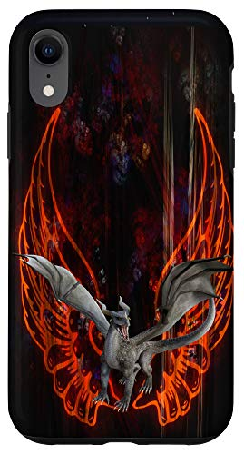 iPhone XR Fractal Red Angel Wings With Guardian Dragon Case
