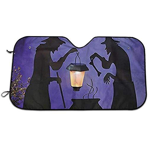 KDU Fashion Auto parasol, Witch Cauldron Pot Solar verlichte lantaarn Halloween Silhouet Premium voertuigraam Parasol voor minivan, 70 x 130 cm