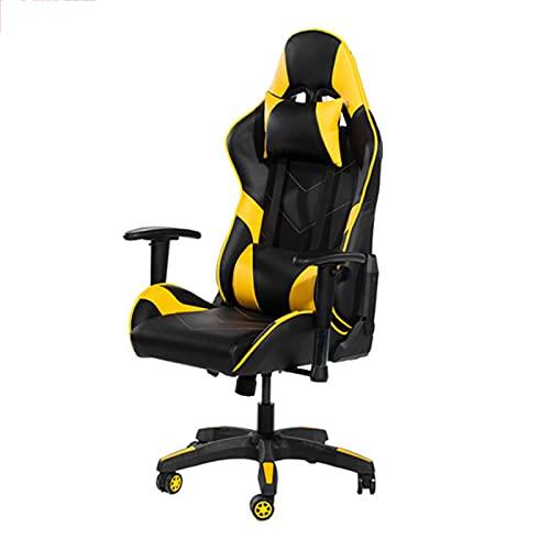 JKLOVE Silla de oficina para juegos, silla de ordenador, silla de carreras reclinable, con reposacabezas y soporte lumbar para adultos, adolescentes, silla de escritorio, amarillo