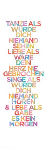 Poster Tanze, Singe, Lebe - Größe 30,5 x 91,5 cm - Mediumposter