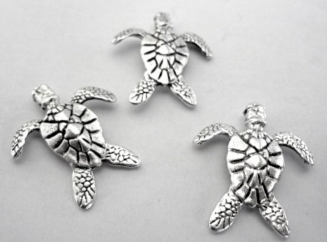 Decorative Sea Turtle Push Pins, Set of 15, Silver