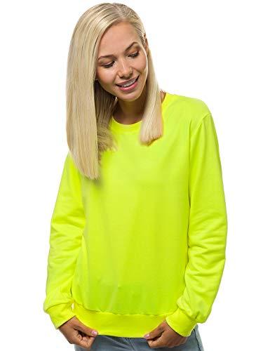 OZONEE Damen Sweatshirt Pullover Langarm Farbvarianten Oversized Langarmshirt Pulli ohne Kapuze Baumwolle Baumwollmischung Classic Basic Rundhals-Ausschnitt Sport 777/7627B/33 GELB-NEON XL