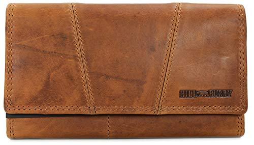 Hill Burry Vintage Leder Damen Geldbörse Portemonnaie Geldbeutel Portmonee aus weichem Leder mit RFID in braun - 17,5x10x3cm (B x H x T)