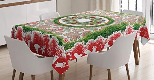 ABAKUHAUS Navidad Mantele, Abeto de la Guirnalda Adornos, Estampado con la Última Tecnología Lavable Colores Firmes, 140 x 170 cm, Multicolor