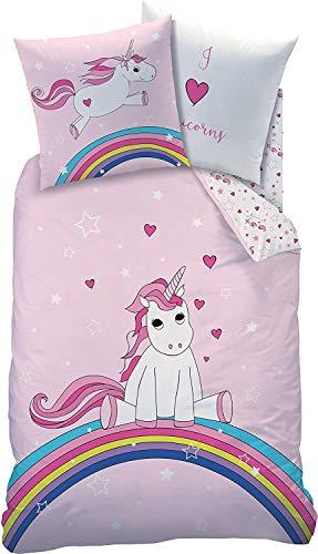 Familando Biber/Flanell niedliche-s Bettwäsche Set Unicorn Rainbow 135x200cm + 80x80cm 100% Baumwolle Hell-Rosa Einhorn Winter-Bettwaesche für Kinder