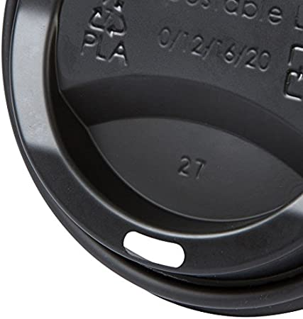 compostable reciclable I Tapa Plana Negra con Agujero para Beber BIOZOYG Tapa de Taza para caf/é To Go /Ø 80mm I 100 Tapa para Tazas de cart/ón Hechas de CPLA biopl/ástico 100/% Biodegradable