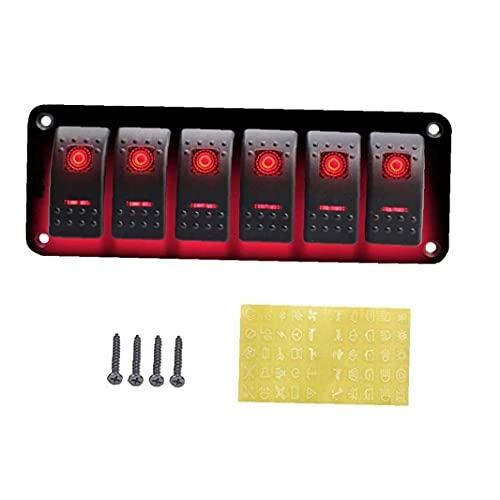 6 Interruptor de la cuadrilla Panel On-Off autoblocante Toggle Interruptor oscilante 12V 24V para el coche del barco Marina RV remolque del camión de alta complejo ProtectionTechnology Rojo
