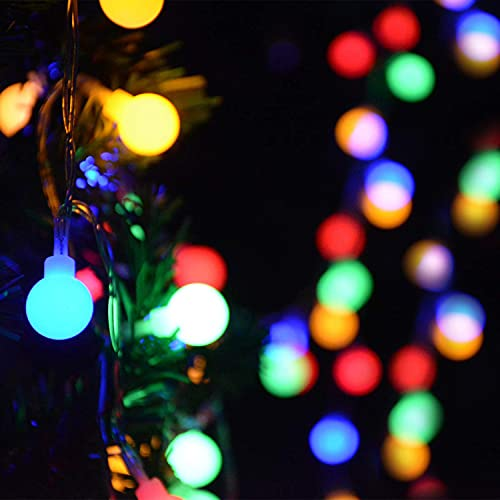 Fairy Festoon Lights with Remote Control 100 LEDs Multi Colored Globe String Lights Battery Powered 10M 8 Modes Waterproof Decorative Lights for Indoor Outdoor Party Home Garden Patio Bar Restaurant