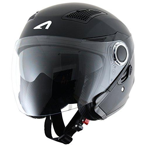 Astone Helmets fibra, Casco Jet, color Matt Negro, talla XXL