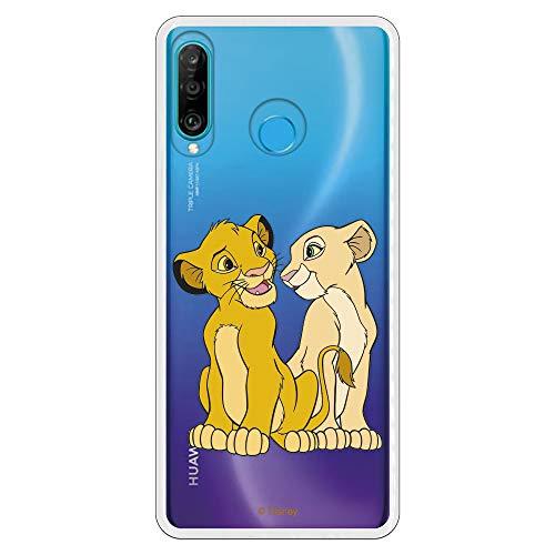 Funda para Huawei P30 Lite Oficial de El Rey León Simba y Nala Silueta para Proteger tu móvil. Carcasa para Huawei de Silicona Flexible con Licencia Oficial de Disney.