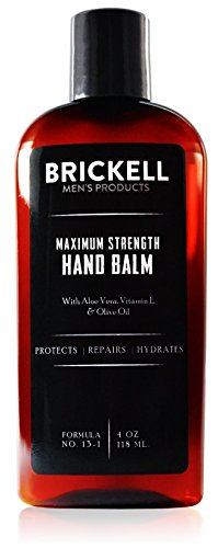 Brickell Men's Maximum Strength Hand Lotion for Men, Natural and Organic Fast-Absorbing Hand Lotion with Vitamin E, Shea Butter, and Jojoba, 118 ml, Scented