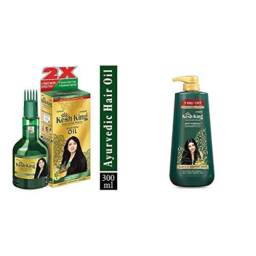 Kesh King Ayurvedic Anti Hairfall Hair Oil, 300ml & Kesh King Scalp and Hair Medicine Anti-Hairfall Shampoo, 600 ml