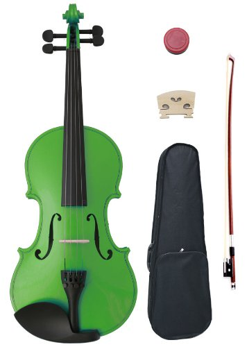 1/4 Green Maple Wood Acoustic Violin with Case, Rosin, and Bow By Crescent