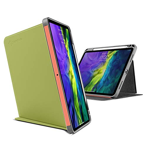 tomtoc Fodral till iPad Pro 11 2020 och 2018, trippelvikbart vertikalt fodral med Apple-pennhållare, skyddskåpa med magnetiskt ställ för 3 användarlägen, stödjer iPad penna trådlös laddning (avokado)