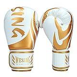 WESING Boxing Gloves for Men 14 Oz MMA Training Sparring Gloves 16 Oz Punch Mitts (White, 12 Oz)