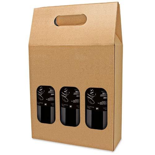 DISOK Lote de 25 Cajas de Cartón con Ventana para 3 Botellas. Estuches de Vino Caja Vino para Bodas, Bautizo, comuniones. No Incluye Botellas.