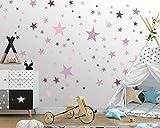 100 Sterne Wandtattoo fürs Kinderzimmer - Wandsticker Set - Pastell Farben, Baby Sternenhimmel zum Kleben Wandaufkleber Sticker Wanddeko - Wandfolie, Kleinkinder, Erstausstattung, Grau - Pink - Lila