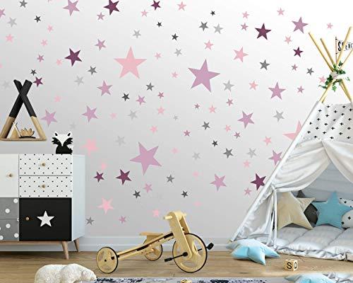 75 Sterne Wandtattoo fürs Kinderzimmer - Wandsticker Set - Pastell Farben, Baby Sternenhimmel zum Kleben Wandaufkleber Sticker Wanddeko - Wandfolie, Kleinkinder, Erstausstattung, Grau - Pink - Lila