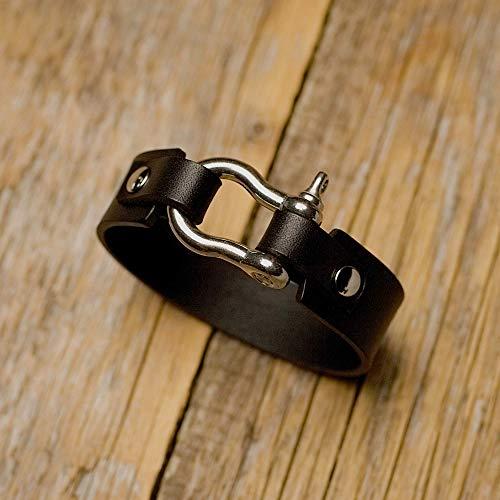 Brazalete personalizada de cuero italiano negro, grabe su nombre, coordenadas...