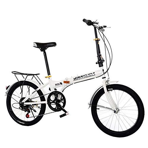 20 Inch Variabele Snelheid Vouwfiets, Volwassen Vouwfiets, Outdoor Woon-Werkverkeer Student Bike Gift Car,White,20inch